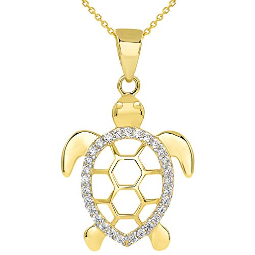 (14k Yellow Gold CZ Open Shell Sea Turtle Good Luck Pendant Necklace, 18