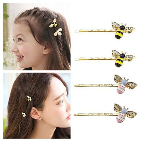 QTMY 4 PCS Metal Cute Bee Hairpin Hair Clips Hair Accessories
