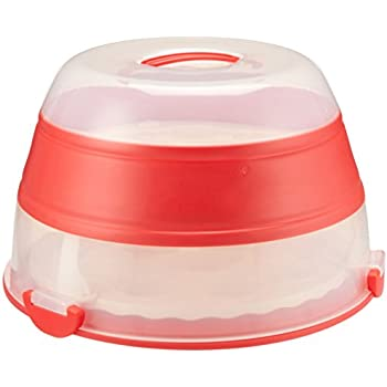 Collapsible Cupcake And Cake Carrier In White And Red