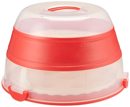 Progressive Prepworks by Collapsible Cupcake and Cake Carrier, 24 Cupcakes, 2 Layer, Easy to Transport of Muffins, Cookies or Dessert to Parties - Red - Progressive Appetizer
