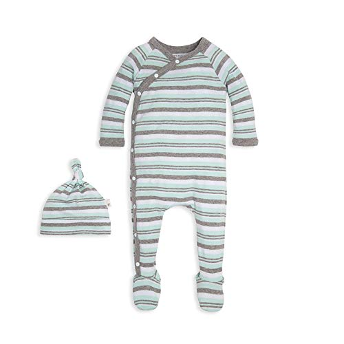 - Burt's Bees Baby Baby Boys Romper Jumpsuit, 100% Organic Cotton One-Piece Coverall, Green Stripe/Hat Set, 6-9 Months