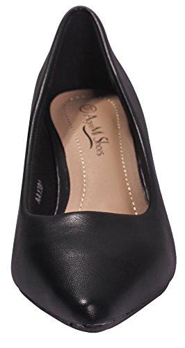 Chaussures PU Pointu Shoes Negro Bas EuD86 Talon Cuir 38 Tire AgeeMi à Légeres Femme AxzqwfgU