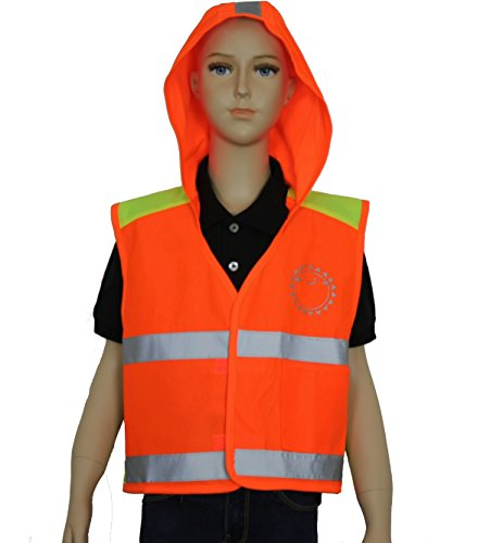 Safety Depot Two Tone High Visibility Children (Kids) Light Weight Reflective Safety Vest with Hoodie, Velcro Closure and Pocket (Orange, Extra - Vests Safety Disposable