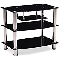 Hodedah Four Shelve Tempered Glass TV Stand, Accommodates TVs up to 32, Black