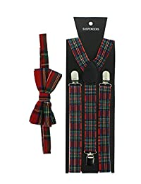 Zac's Alter Ego Men's Matching Suspenders & Pre-Tied Bow Tie Combo Sets