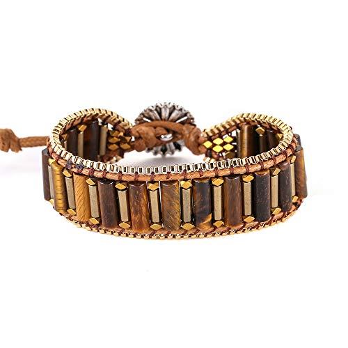 IUNIQUEEN Tiger's Eye Hematite Gold Stainless Steel Box Chain Woven Bead Energy Wrap Bracelet for Men ()