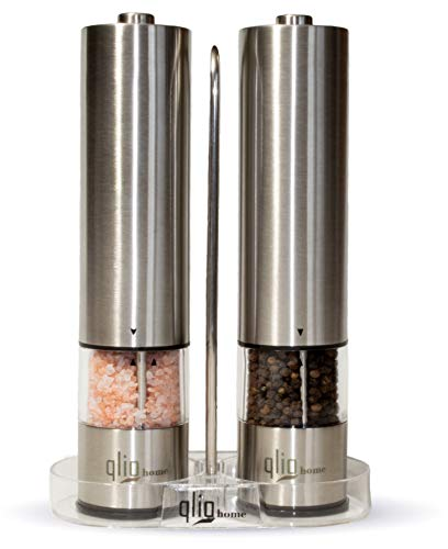 Electric Salt and Pepper Grinder Set by Qlio Home-Battery Operated-Stainless Steel-Peppercorns & Pink Himalayan Salt -Adjustable Coarseness-Ceramic Grinding Mechanism-Acrylic Stand