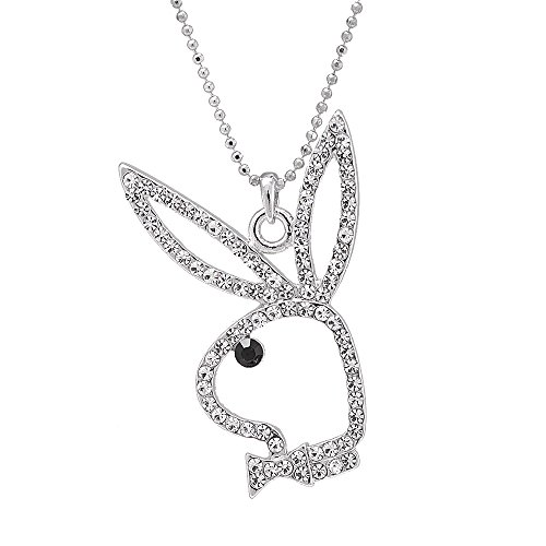 (SpinningDaisy Silver Plated Open Face Play Bunny Necklace)