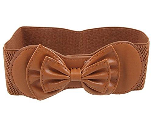 Elastic Coffee Butterfly Knot Hook Buckle Ladies Waist Belt