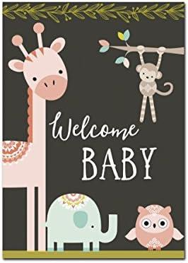 Nastami Glückwunschkarte zur Geburt für Junge und Mädchen - DIN A6 - Baby Grußkarte Postkarte (Welcome Baby dunkel)