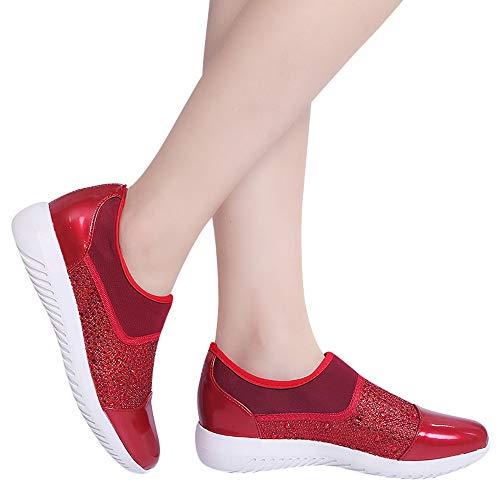 Lässige Sonnena Stoff 36 Turnschuhe Stretch Bequeme Sohlen Sneaker Laufschuhe Flach Damen Rutschfest Shoes Mode Outdoor 44 Sportschuhe Rot Schuhe YzqxY