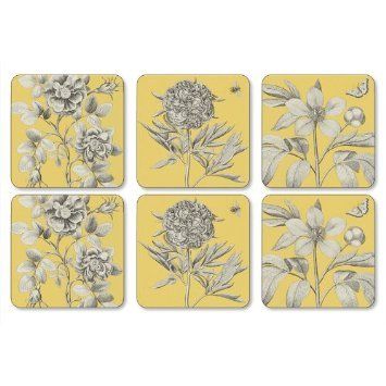 PIMPERNEL Etchings & Roses Yellow Coasters square set of 6