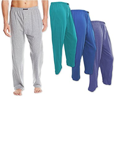 Andrew Scott Men's 3 Pack Cotton Knit Jersey Lightweight Yoga Lounge Sleep Pant (4XL, 3 Pack - Teal Blue / Sea Green / Slate Gray)