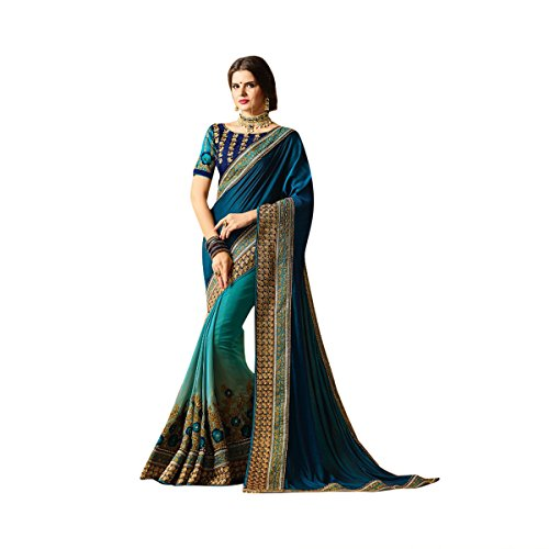 Two Tone Blue Color Bollywood Saree Sari With Latest Stylish Pattern On Blouse Just Launched Women Wedding Ceremony Party Wear Diwali Festive By Ethnic Emporium 526 by ETHNIC EMPORIUM