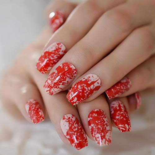 (Leo-4Beauty - Nude Coffin Nails Medium size Red Bloody Ballerina Press On Fingernails Halloween Nail)