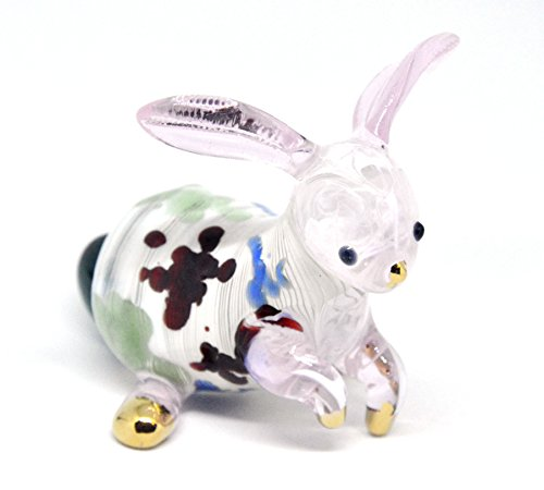 NaCraftTH Rabbit Bunny Glass Figurines Murano Glassblowing Artwork Animal Figure Crystal Home Decor Handmade Birthday Gifts