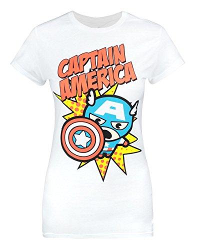 Jack Of All Trades Marvel Kawaii Captain America Women's T-Shirt (XL)
