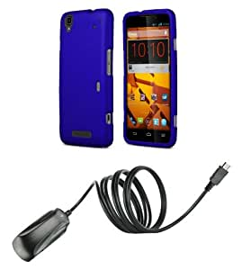 ZTE Boost MAX N9520 - Blue Slim Fit Protective Hard Cover Snap-On Case + ATOM LED Keychain Flashlight + Micro USB Wall Charger