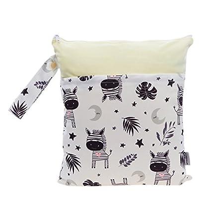 Hi Sprout Grab and Go impermeable lavable reutilizable Pañal mojado y seco bolsas de pañales Zebra