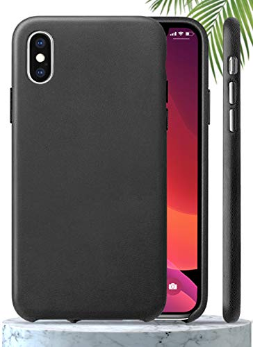 LONLI Classic - iPhone Genuine Standard Nappa Leather Case | Soft Yet Tough | Minimal, Light and Slim (Black Classic, iPhone X)