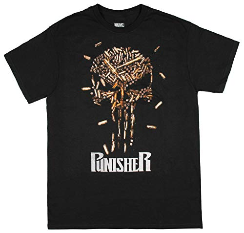Marvel Comics T-Shirt Men's The Punisher Bullet Skull Frank Castle Tee Small