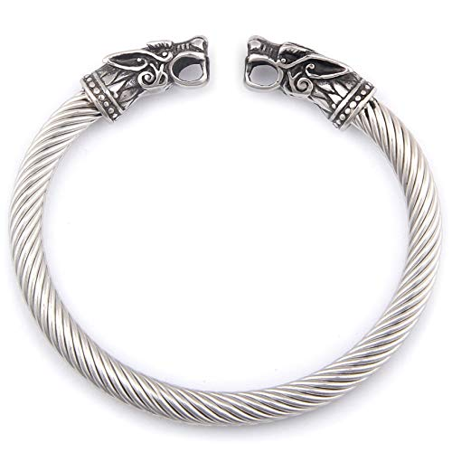 (BaviPower Handcrafted Wolf Heads Bangle ♦ Flexible ♦ Stainless Steel ♦ Norse Scandinavian Bracelet ♦ Authentic Viking Jewelry)
