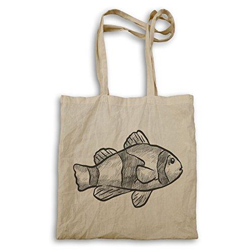 Tote Bag Con Disegno Pesce Disegnato A Mano P245r