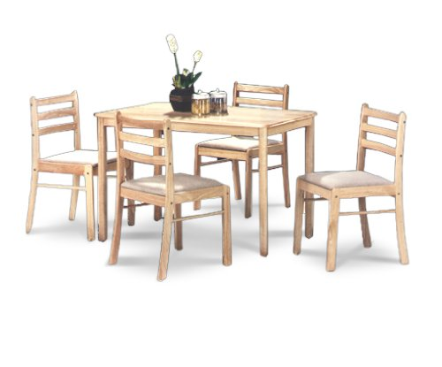 Natural Finish Table & 4 Chair Dining Set -  - kitchen-dining-room-furniture, kitchen-dining-room, dining-sets - 41ltV3BeLzL -