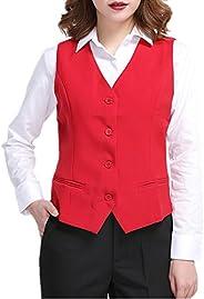 YOUMU Women Waistcoat Formal Work Dress Suit Vest Sleeveless Cafe Bar Shop Waitress Waistcoat Gilet Jacket Coa