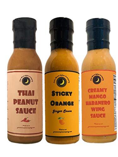 (TOP SELLING   Chicken, Seafood & BBQ Sauce Variety Pack   Thai Peanut   Sticky Orange   Mango Habanero)