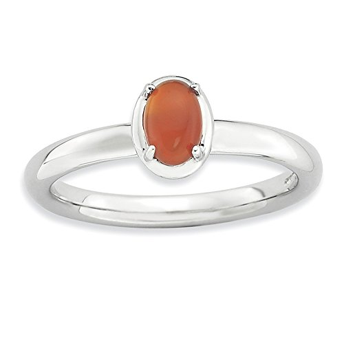 925 Sterling Silver Red Agate Band Ring Size 9.00 Stone Stackable Gemstone Natural Fine Jewelry Gifts For Women For Her