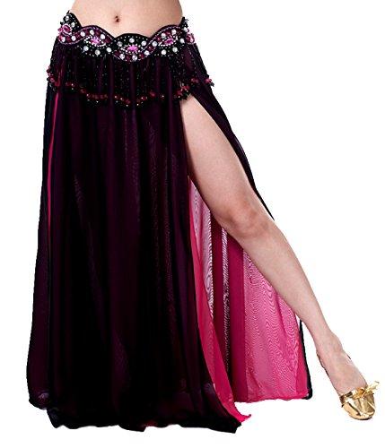 Dance Fairy Belly Dance High Slit Chiffon Skirt (Black & Rose Red,Not contain Belt)