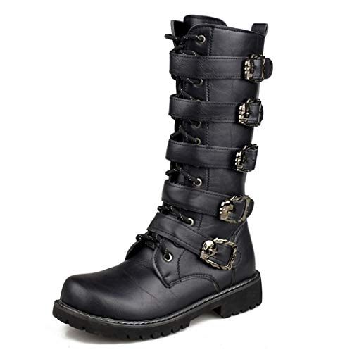 Alaec Mens High Top Martin Boots with Buckle Belt Metal Buckle PU Leather Calf Boot Wellington Boot Army Military Tactical Boots,Black,41 -
