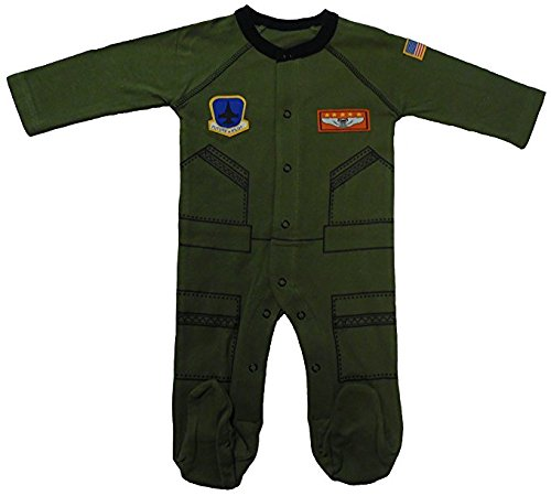 Baby Aviator Flight Suit Long Sleeve Sleeper 0-12 Mo Olive W Black Trim (3-6 mo) -