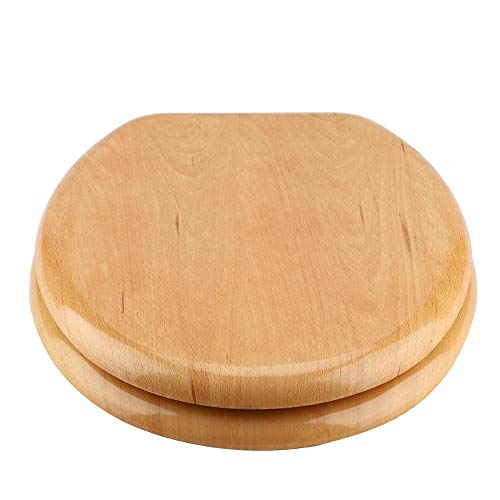- Wood Toilet Seat, Anti-Microbial Toilet Seat Natural Solid Oak Veneer Toilet Seat with Chrome Hinges, Round