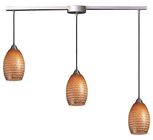 Mulinello 3 Light Pendant in Satin Nickel and Cocoa Glass