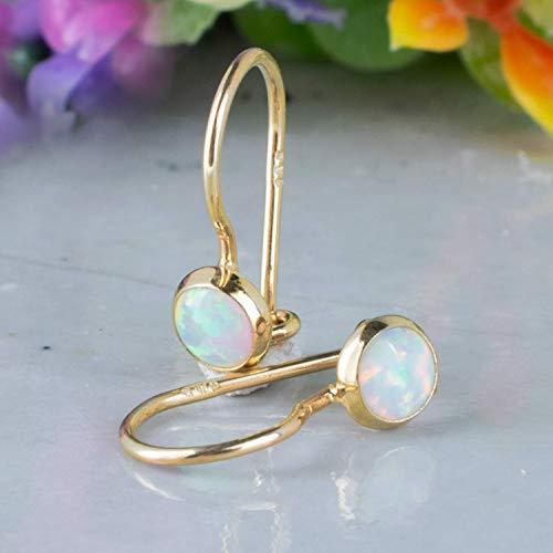 White Opal Drop Earrings for Girls - Dainty 14K Solid Yellow Gold, 4mm Opal October Birthstone Tiny Drop Dangle Earrings with Cute White Gemstones - Small Handmade Jewelry Gift for Girls and Women