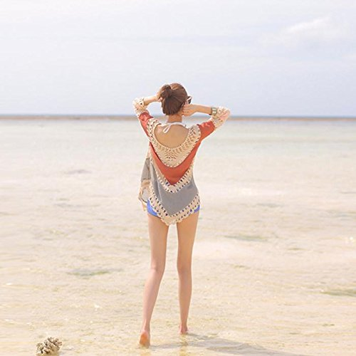 &zhou Playa femenina playa ropa de sol, blusa de bikini, chal de traje de baño , one size , 1 2