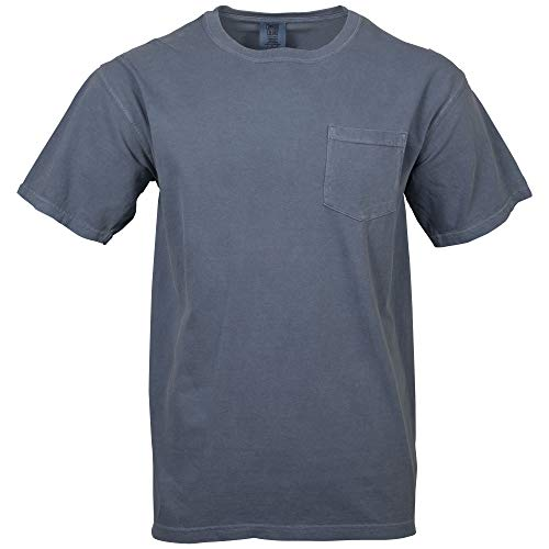 Comfort Colors Men's Adult Short Sleeve Pocket Tee, Style 6030, Blue Jean, Small