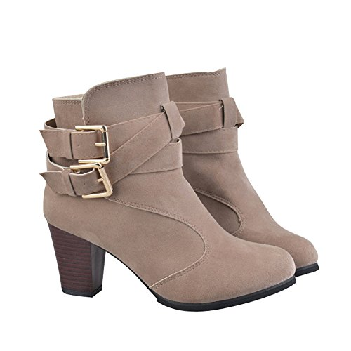Buckle Boots Womens Belt Ladies Heel Beige Zipper fereshte Side Chunky Metal Ankle qYpWS4