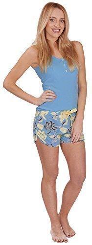 De Mujer De Algodón Chaleco Jersey y pantalones cortos Set Pijama Azul