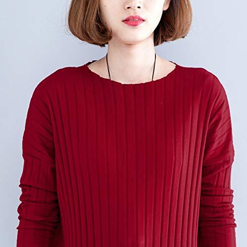 cuello Manga De Larga Gran Tamaño Mujer Vestido Casual Xmdnye Punto Vestidos O Otoño Cálido xl Color Sólido 5Ownx7PqR