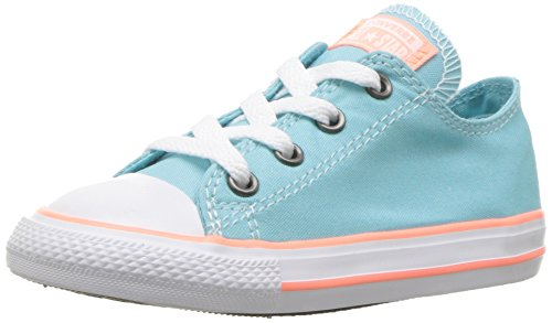 Converse Kids' Chuck Taylor All Star Seasonal Canvas Low Top Sneaker, Bleached Aqua/Crimson Pulse, 10 M US Toddler (Shoes Converse Toddler)