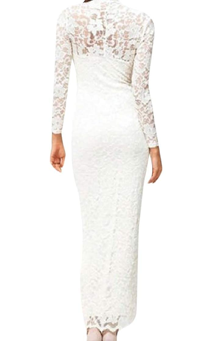 Comaba Women Elegent Hollow Out Tuxedo V Neck Lace Wedding Party Dresses