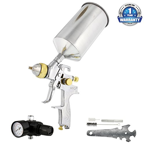 Gun Iwata Spray Guns - TCP Global® Brand Professional 1.3mm HVLP Spray Gun-gravity Feed-auto Paint Basecoat Clearcoat with Air Regulator (G6600-13)