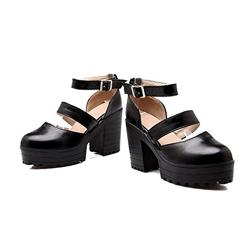 Odomolor Women's Buckle PU High-Heels Round-Toe Solid Pumps-Shoes, Black, 36