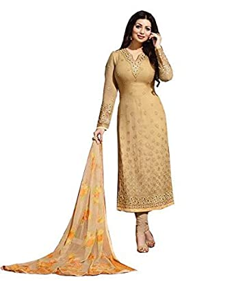 bc5fd6cfddc6 NFashion Designer Women's Pure Georgette Embroidered Chudidar Salwar Suit  Material: Amazon.in: Clothing & Accessories