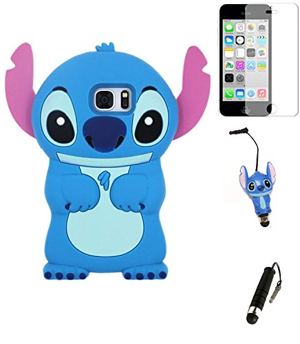 (Bukit Cell Bundle: Bukit CellBLUE 3D Stitch Silicon Animal Cute Lovely Fun Case for Galaxy S7[Not forGS7Note,7Edge] Screen Protector,3D Stitch Stylus Pen ,Bukit Cell Metallic Stylus Touch Pen)
