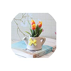 Artificial Flowers Potted Silk Tulip Bonsai 3 Heads Fake Flower Potted Plants Home Wedding Party Decoration Fake Flowers,Orange 80