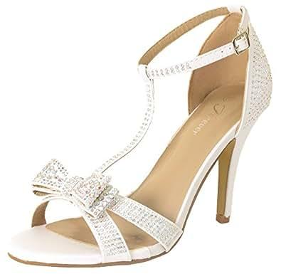 Forever Link Alina-64 Rhinestone Glitter Tstrap Bow Detail Formal Heel,White,7